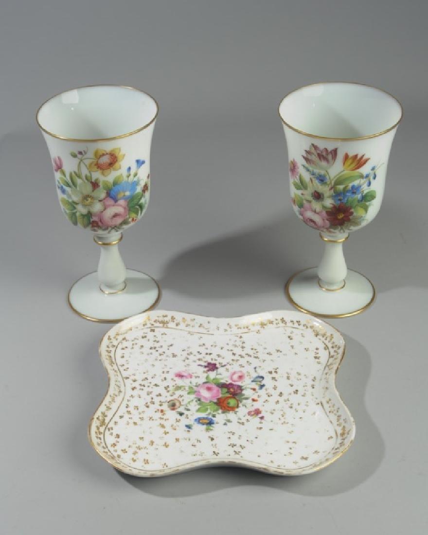 Pr. Antique French Opaline Enameled Vases, more