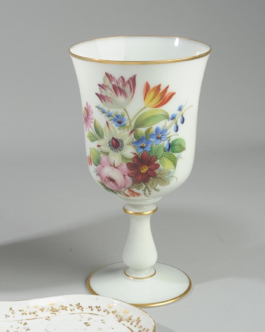 Pr. Antique French Opaline Enameled Vases, more - 2
