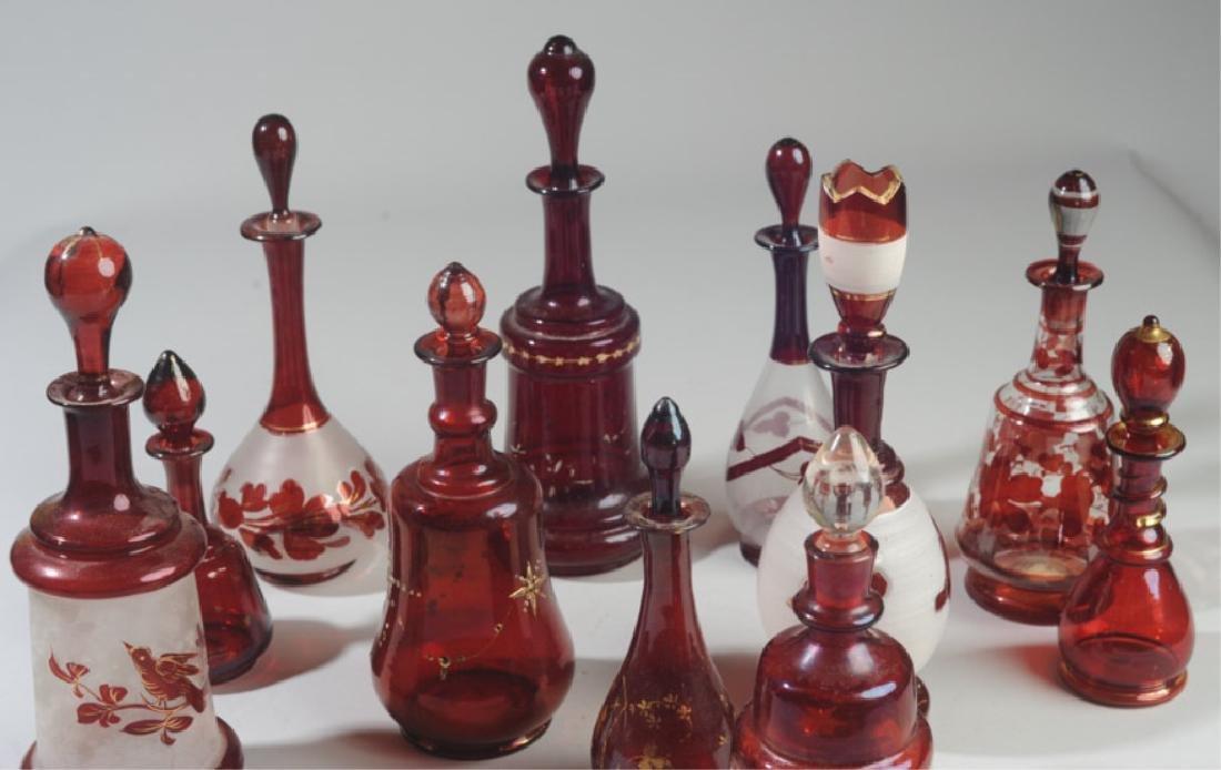 Lot of 19th C. Bohemian Ruby Glass Bottles - 4
