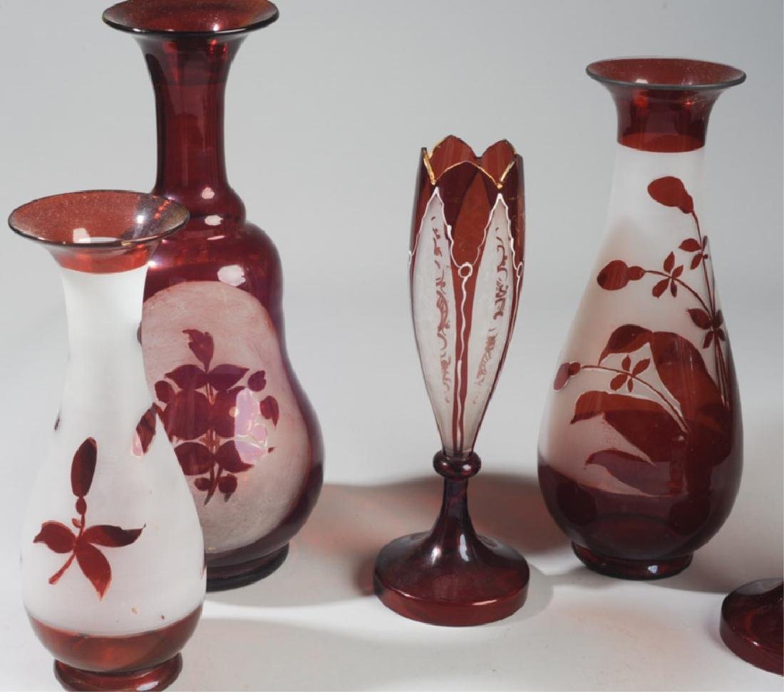 Lot Antique Bohemian Ruby Glass Vases - 2