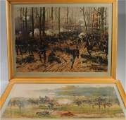 Pair Vintage Chromolithographs of Civil War Scenes