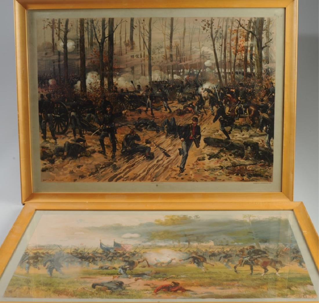 Pair Vintage Chromolithographs of Civil War Scenes