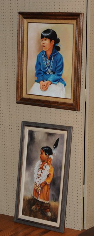 Two Native American Theme Oils on Canvas