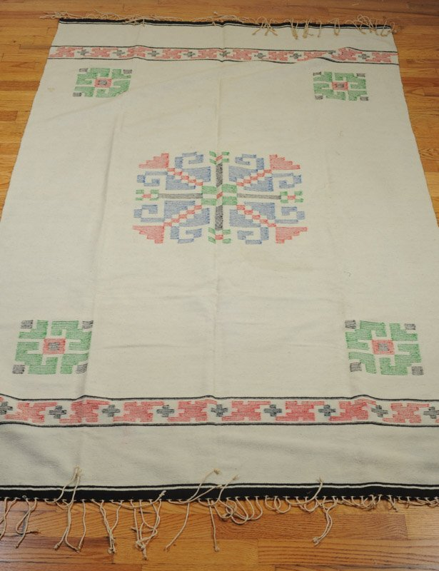 Early 20th C. Chimayo Weaving White Ground