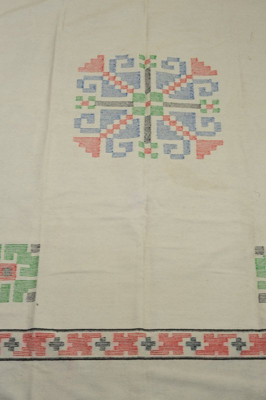 Early 20th C. Chimayo Weaving White Ground - 2
