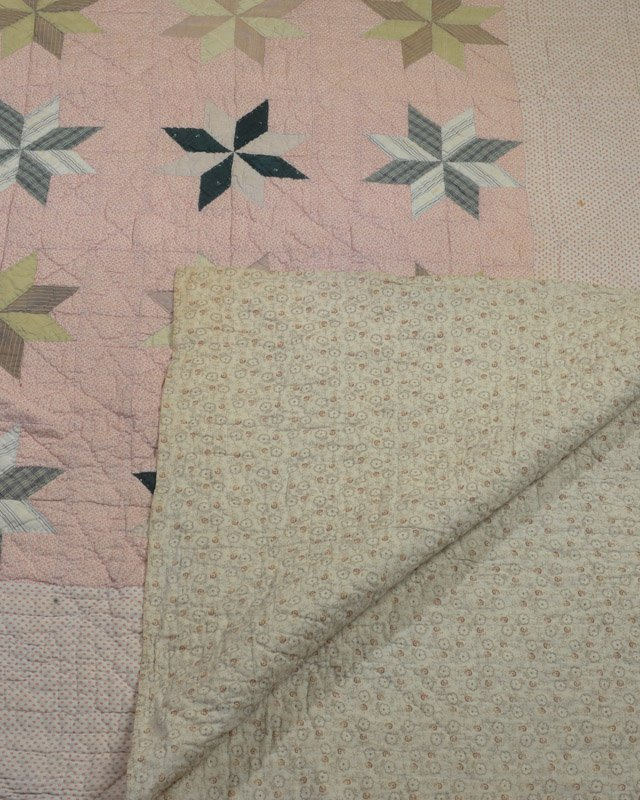 Antique Hand Stitched Star Quilt - 2