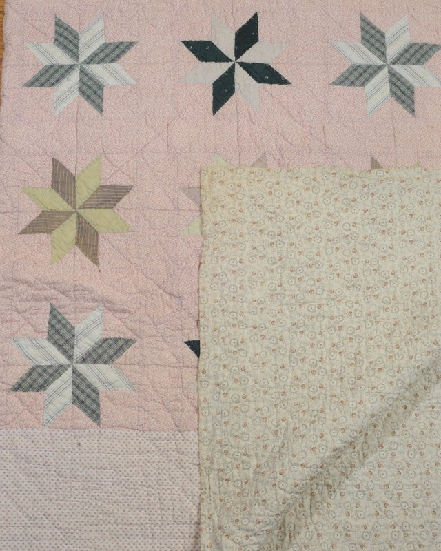 Antique Hand Stitched Star Quilt - 3