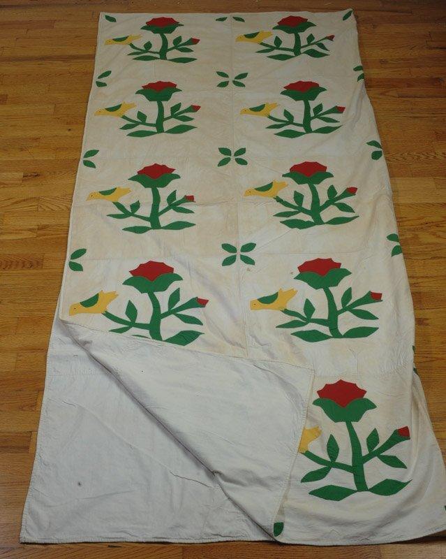 Vintage or  Antique Hand Stitched Applique Quilt