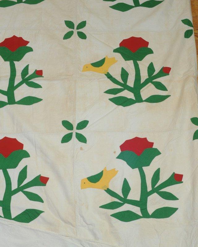 Vintage or  Antique Hand Stitched Applique Quilt - 3