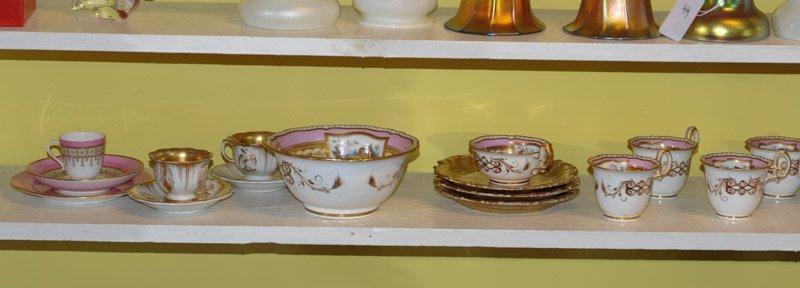 Antique Old Paris Pink & Gold Porcelain Lot