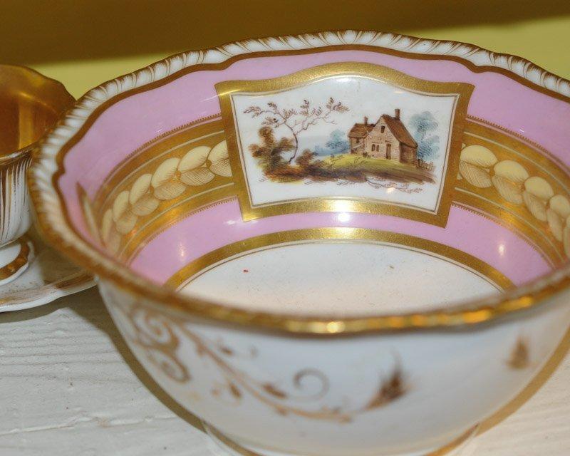 Antique Old Paris Pink & Gold Porcelain Lot - 2
