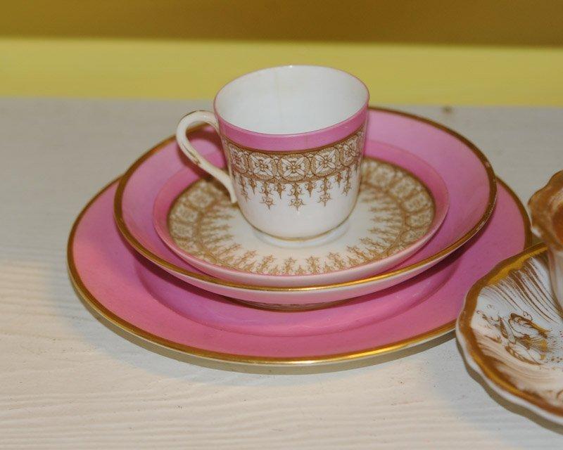 Antique Old Paris Pink & Gold Porcelain Lot - 3