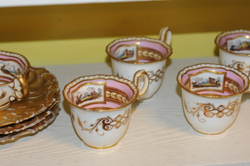 Antique Old Paris Pink & Gold Porcelain Lot - 4