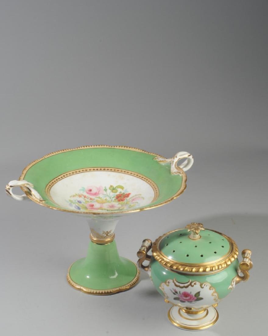 2 Pcs. 19th C. Old Paris Green & Gold Porcelain