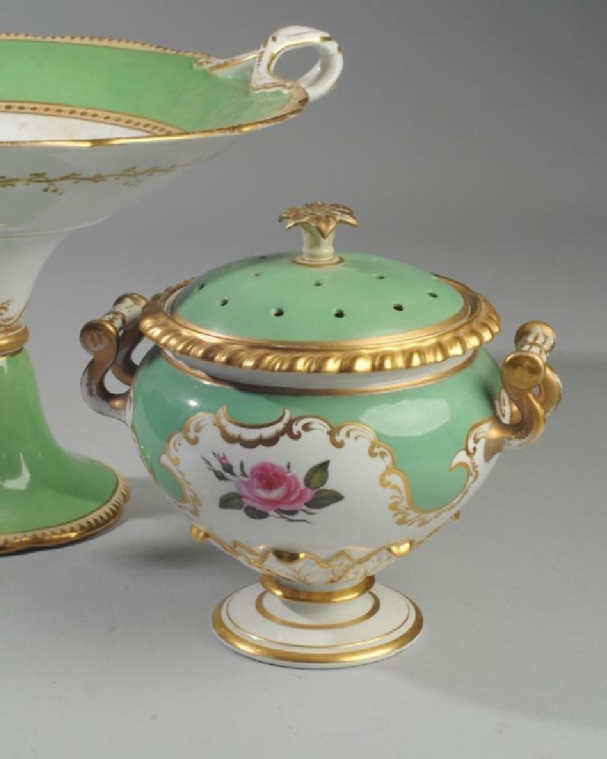 2 Pcs. 19th C. Old Paris Green & Gold Porcelain - 2