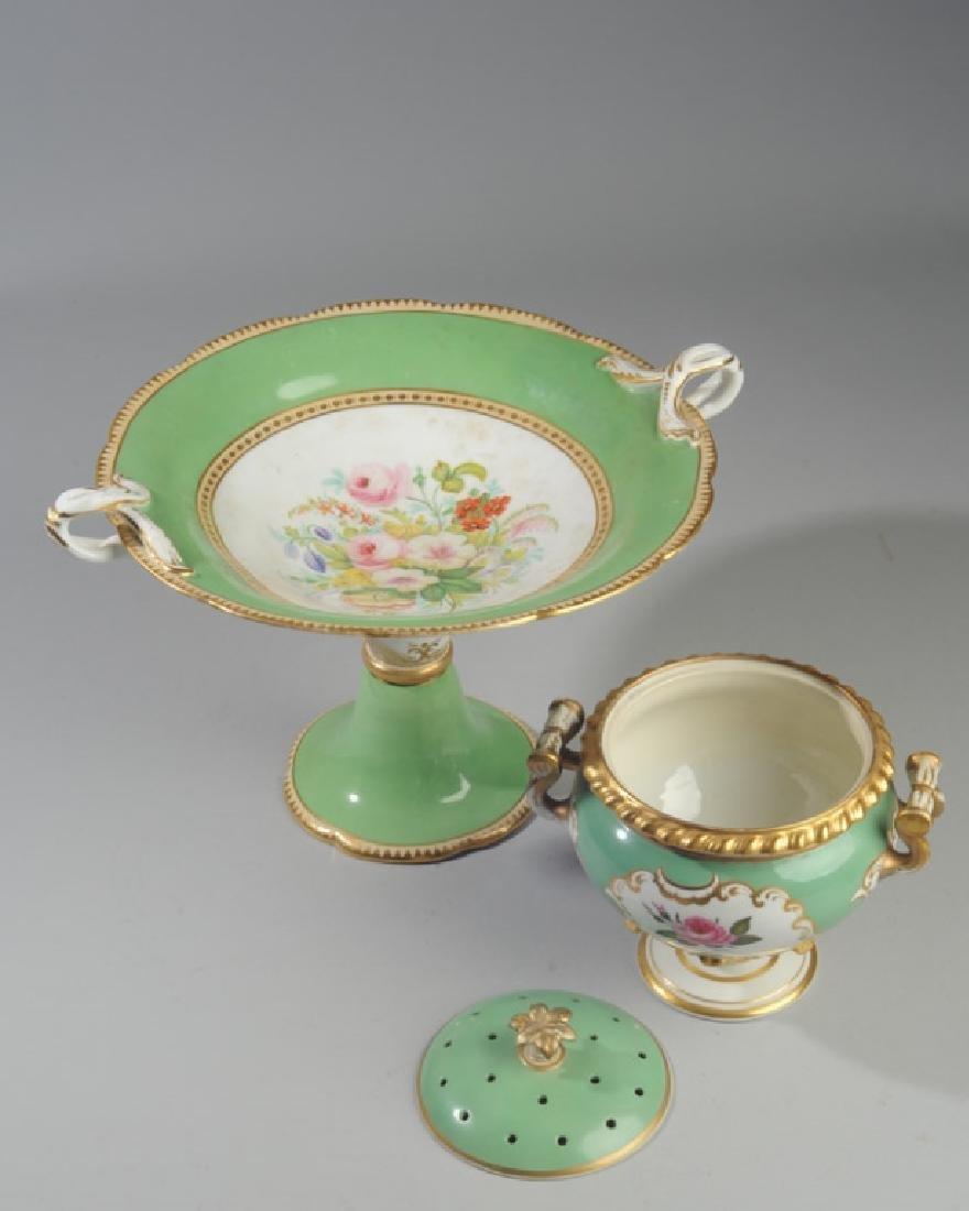 2 Pcs. 19th C. Old Paris Green & Gold Porcelain - 4