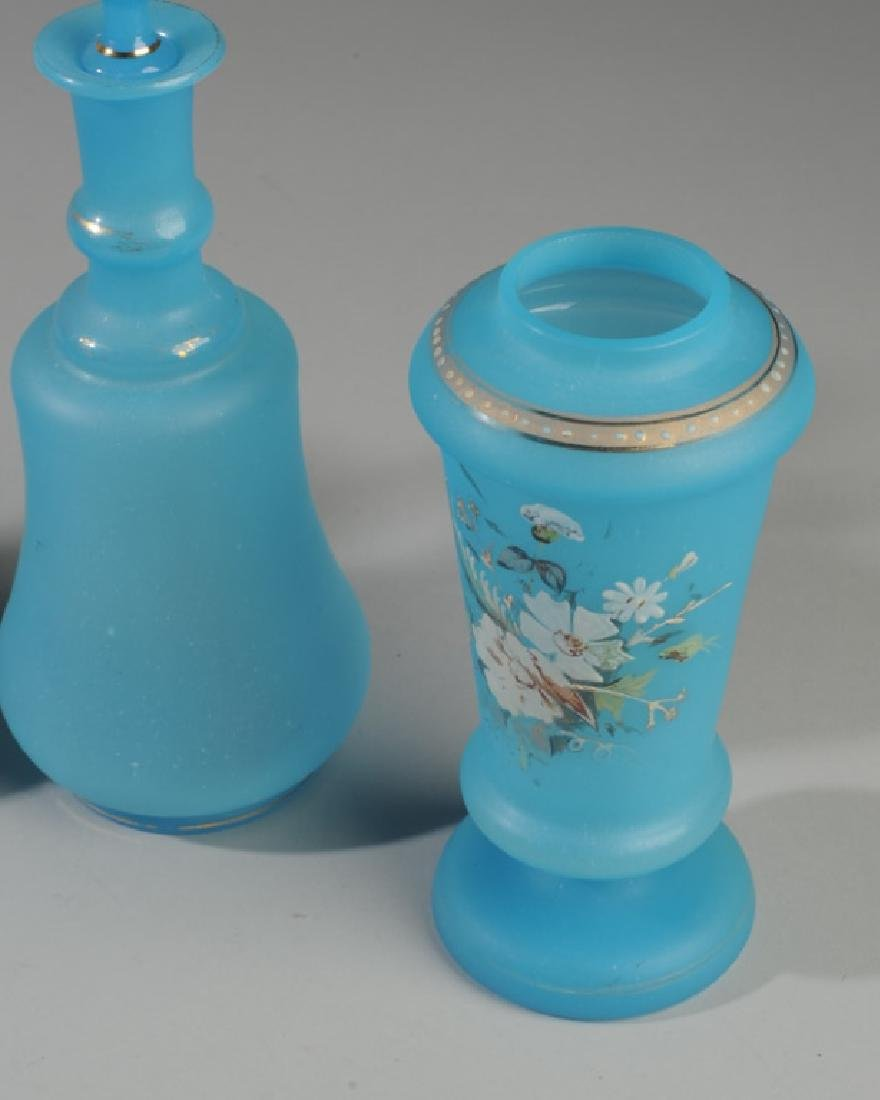6 19th C French Opaline Blue Glass Vases / Bottles - 2