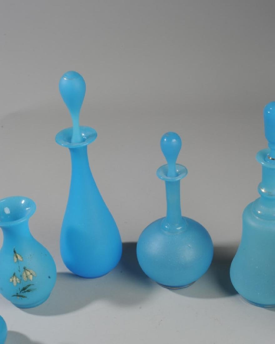 6 19th C French Opaline Blue Glass Vases / Bottles - 4
