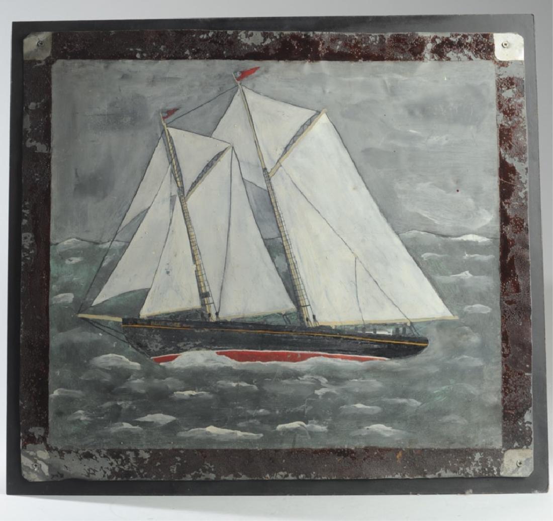Folk Art Oil on Tin of Sailing Ship