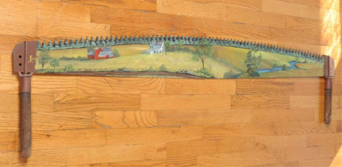 Folk Art Hand Painted Crosscut Saw