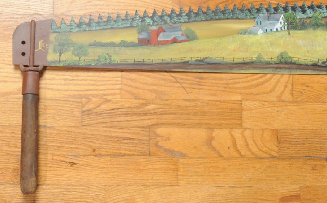 Folk Art Hand Painted Crosscut Saw - 2
