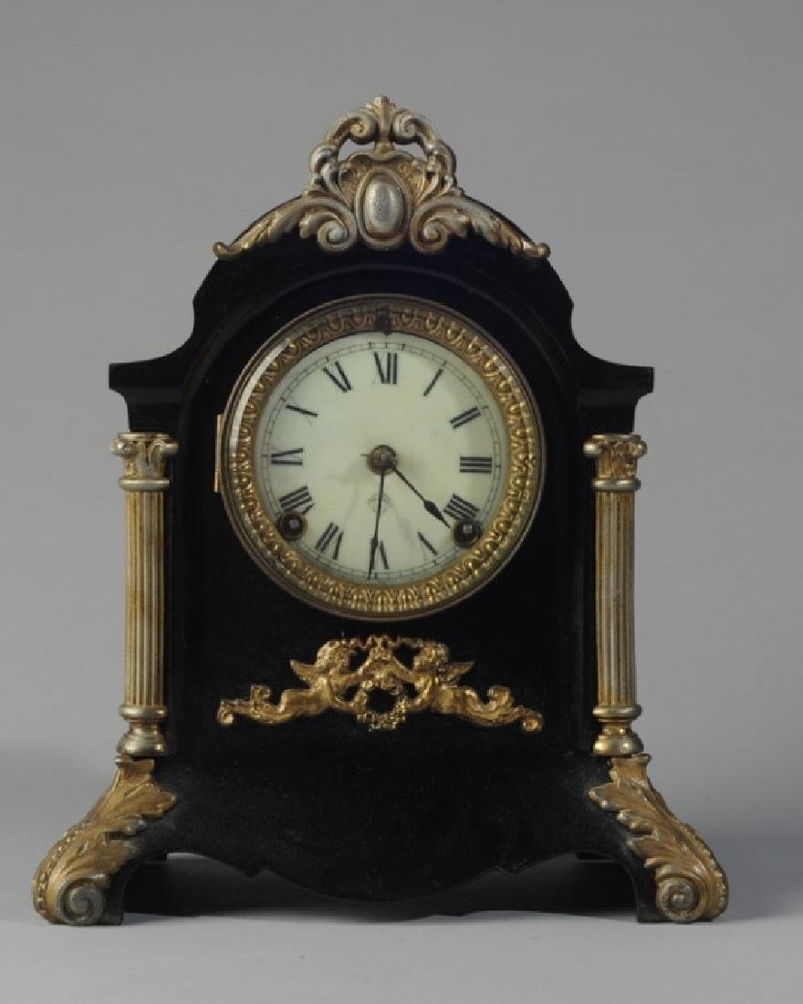 Ansonia Ebonized Metal & Brass Mantel Clock