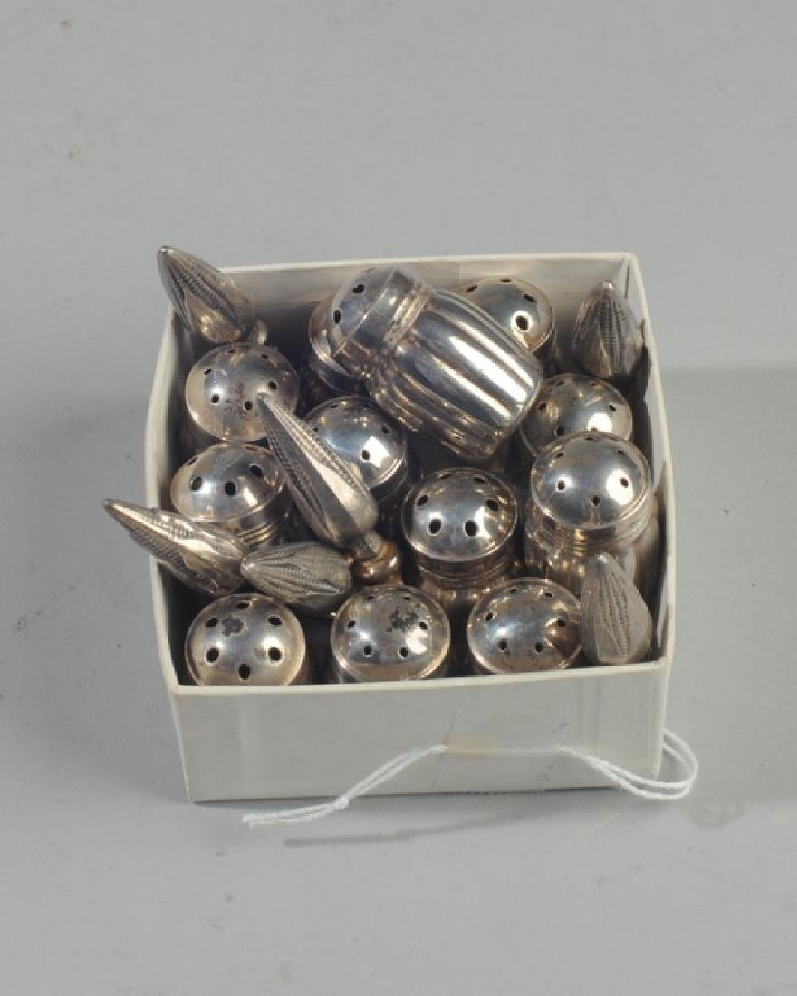 12 Miniature Sterling Silver Salts / Peppers