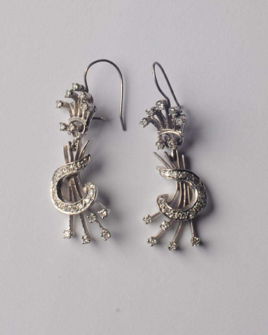 14k White Gold and Diamond Earrings - 2