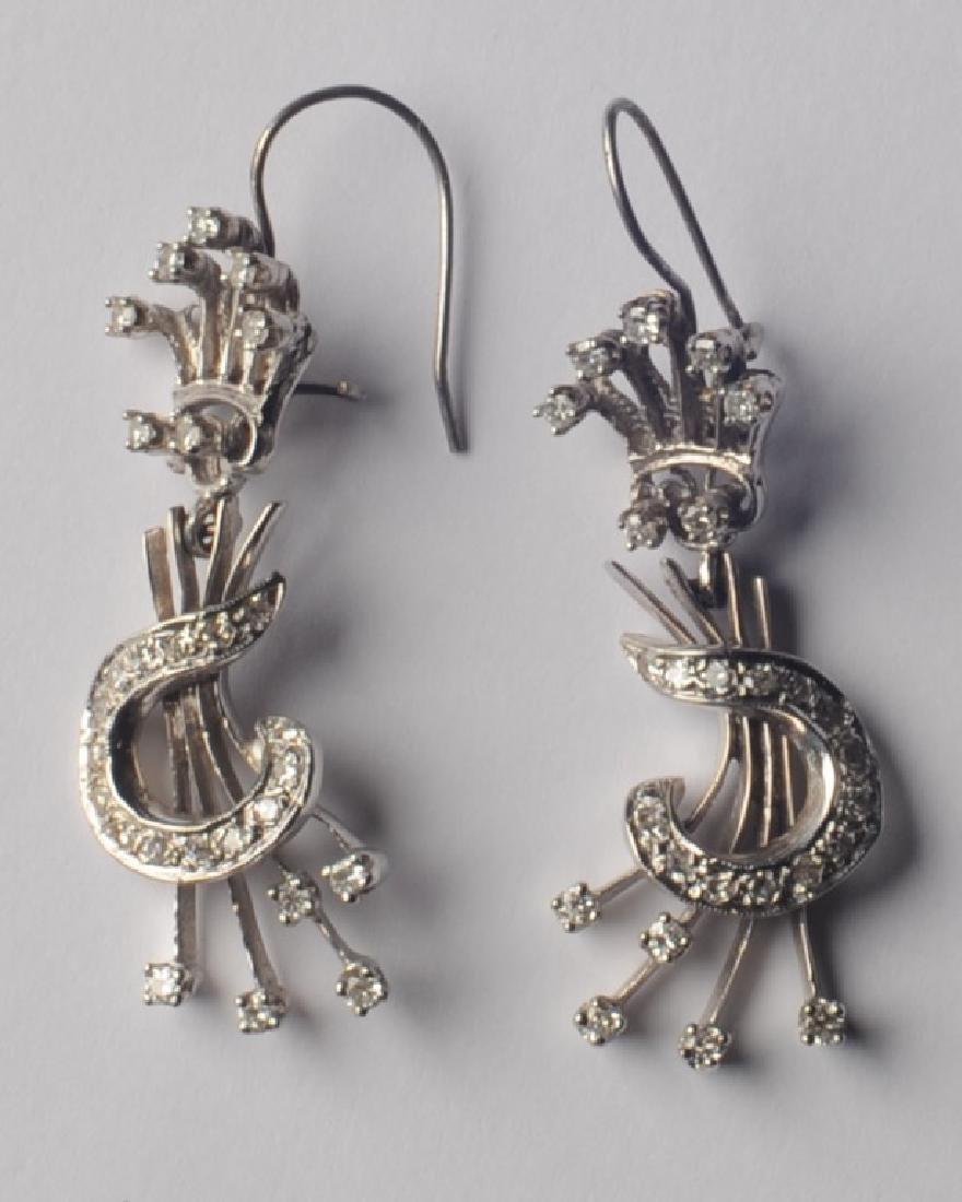 14k White Gold and Diamond Earrings - 3