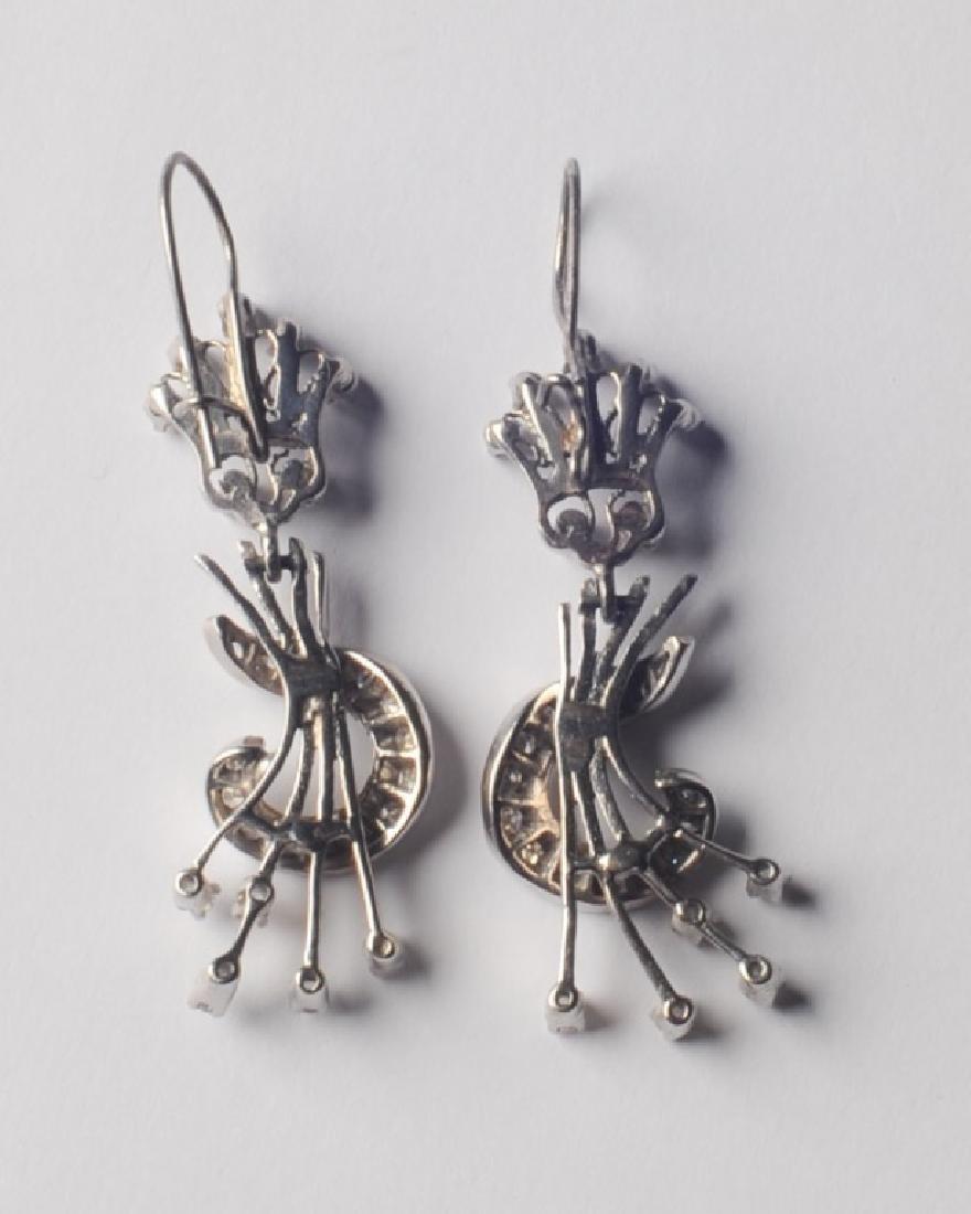 14k White Gold and Diamond Earrings - 4