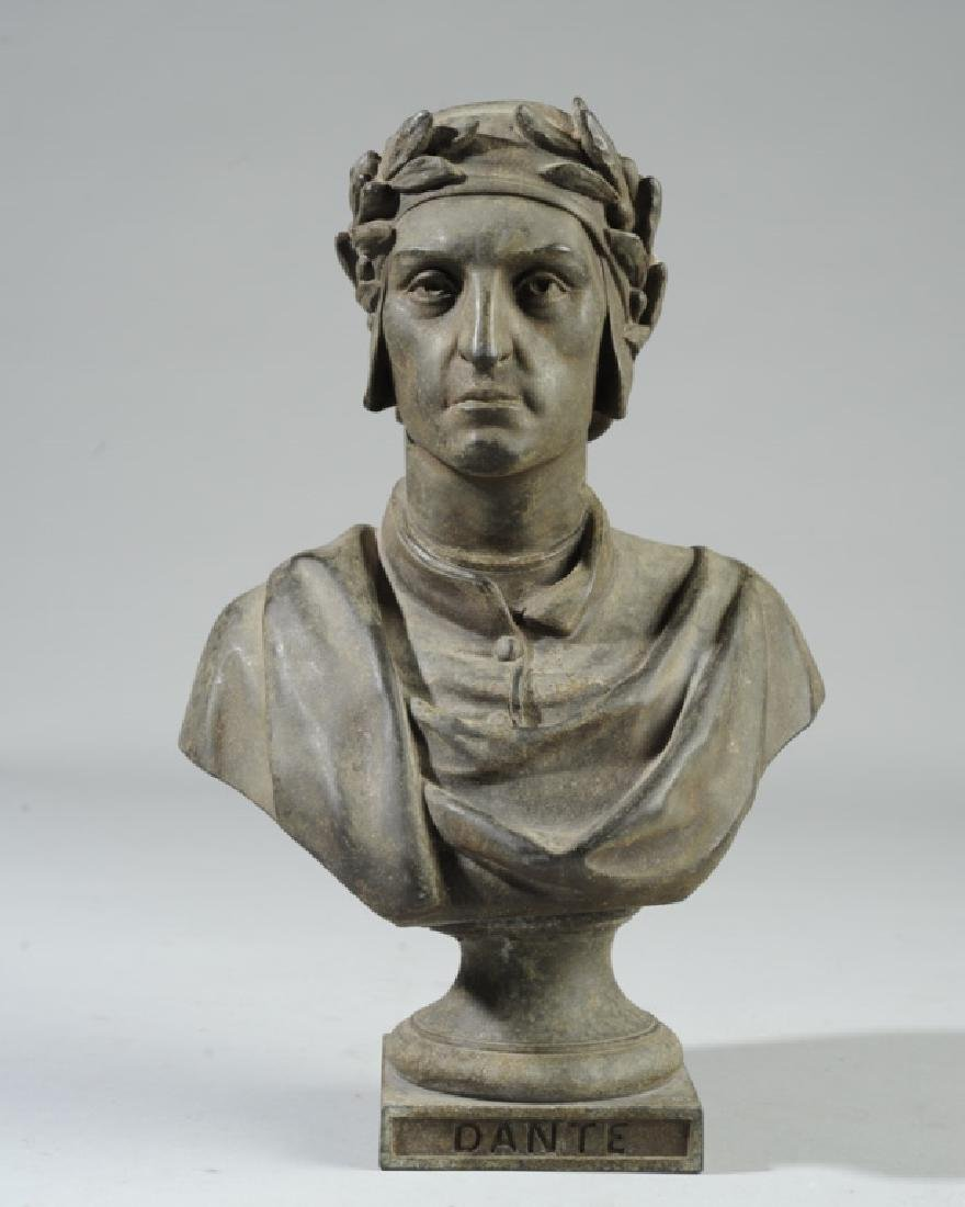 Antique Guillemin Spelter Bust of Dante