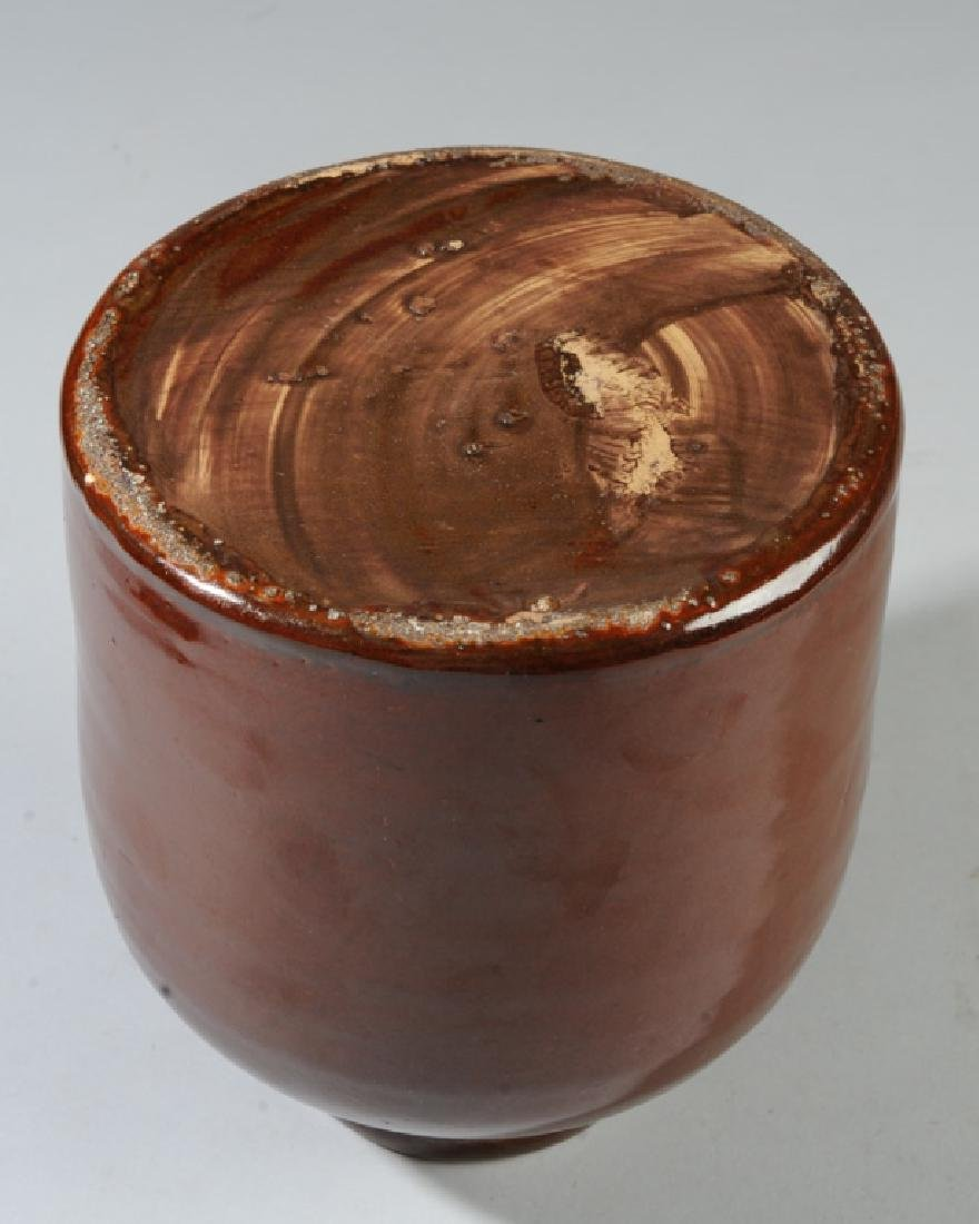 E. 20th C. Wax Sealer Brown Glaze Stoneware Crock - 3