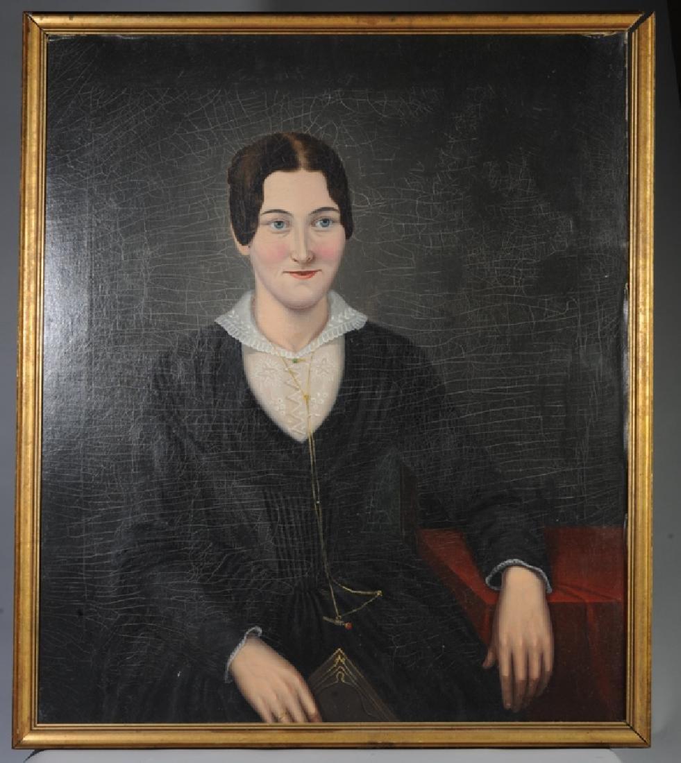 19th C. American Folk Art Portrait of a Lady