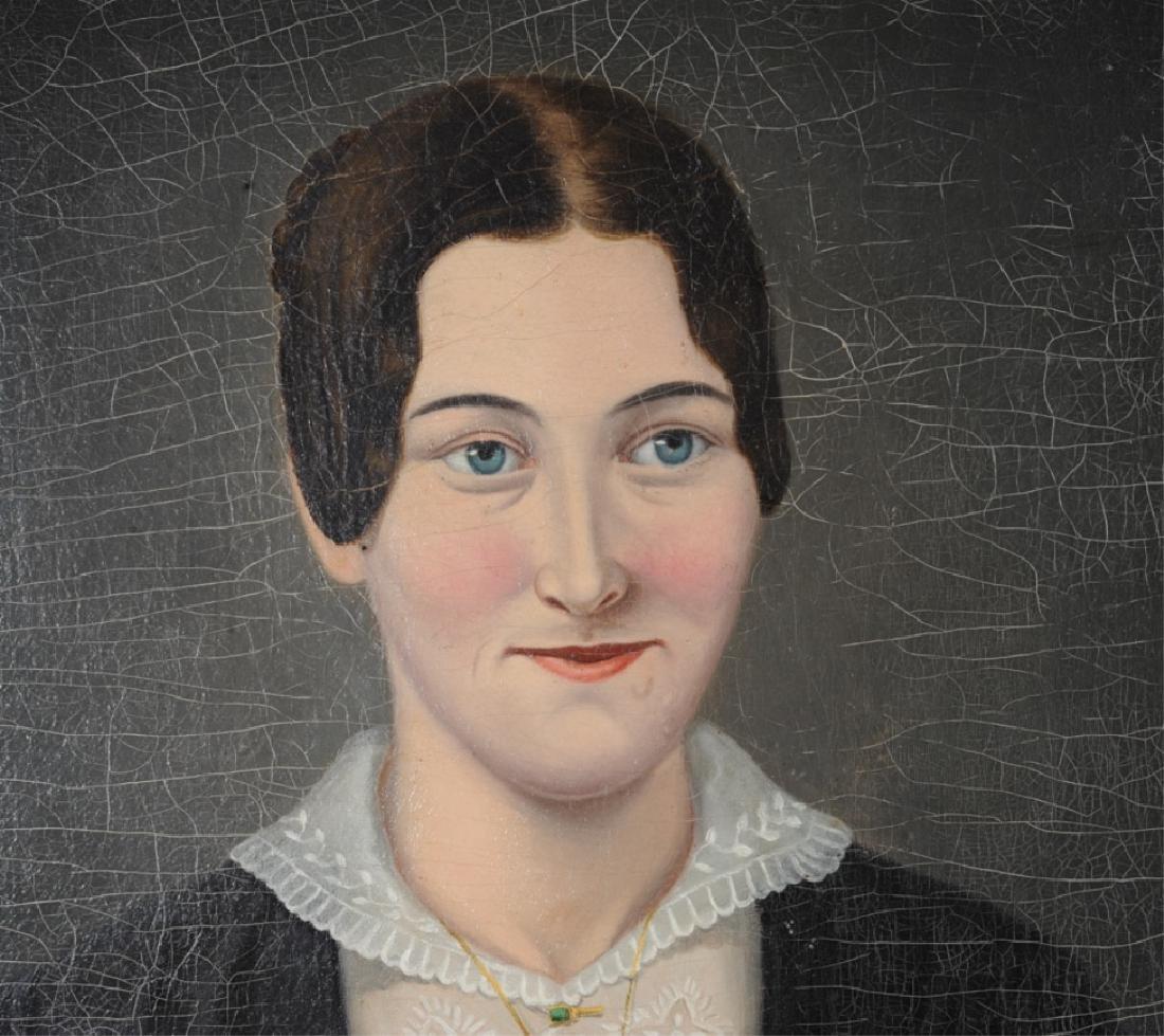 19th C. American Folk Art Portrait of a Lady - 2