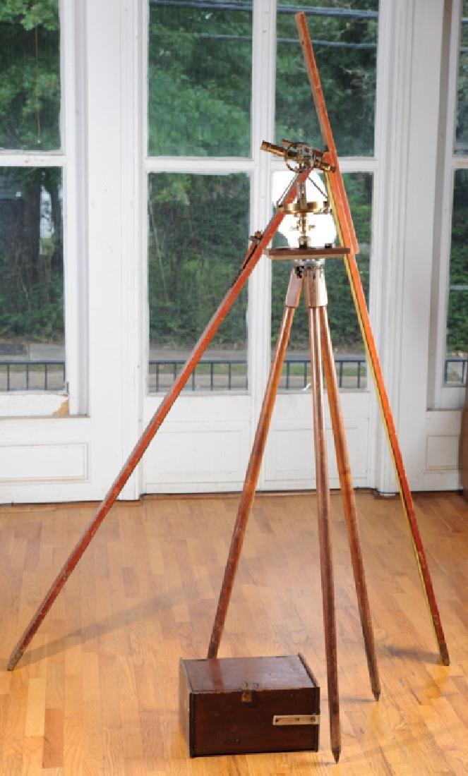 Early Gurley Surveyor's Transit, Tripod, Rod, Box
