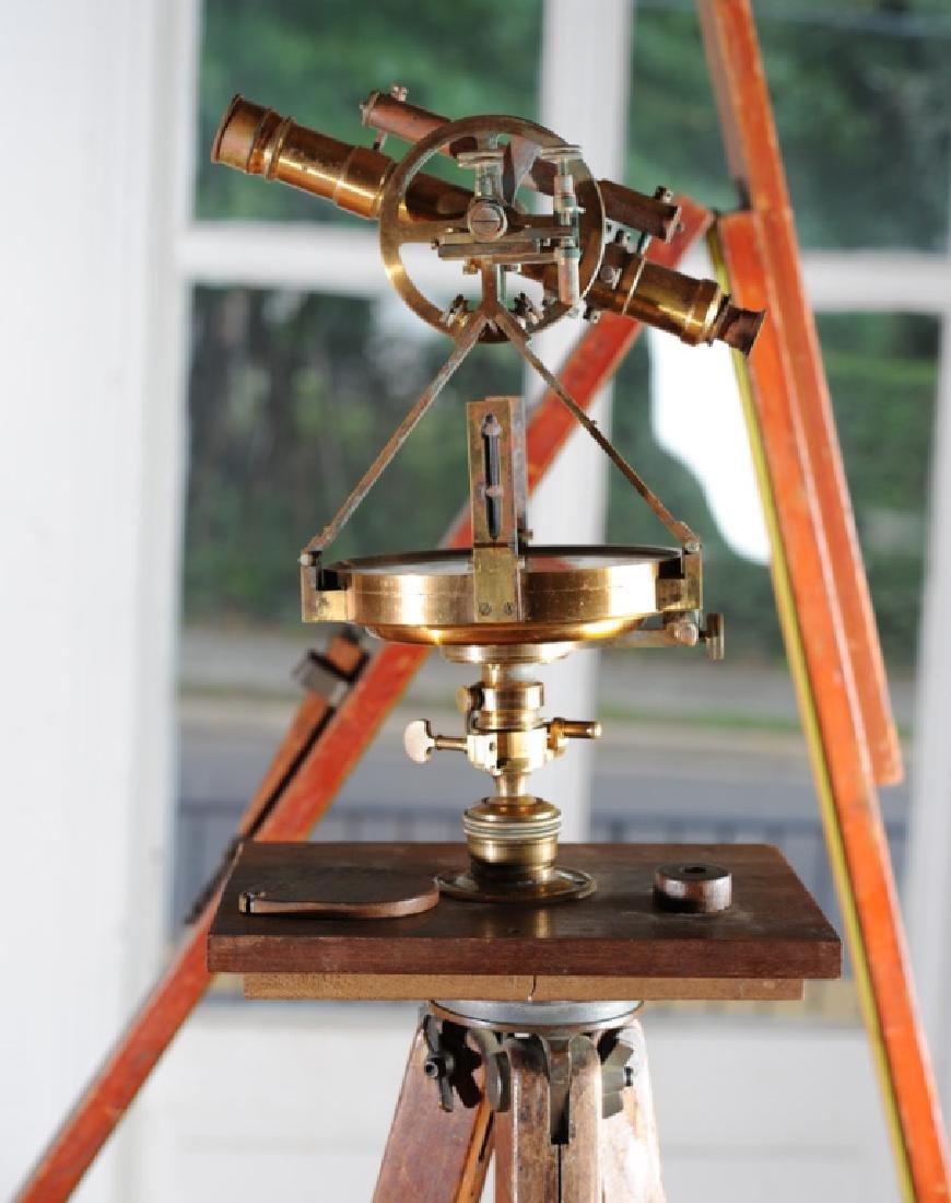 Early Gurley Surveyor's Transit, Tripod, Rod, Box - 3