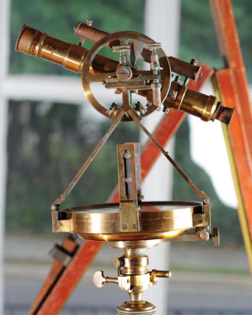 Early Gurley Surveyor's Transit, Tripod, Rod, Box - 4