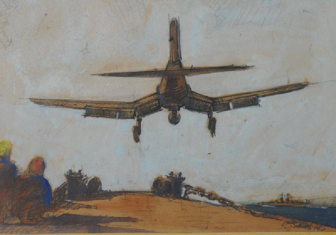 Floyd Johnson 1944 Mixed Media of Fighter Plane - 3