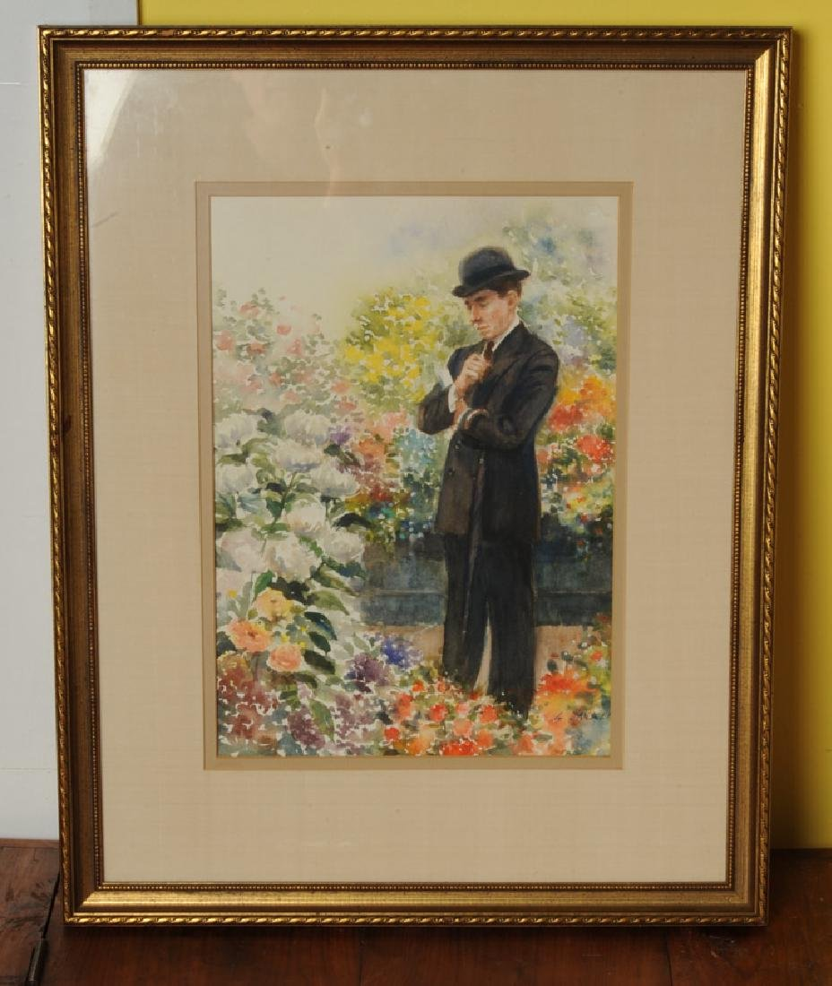 Watercolor of Gentleman in Garden by G. Jannsen