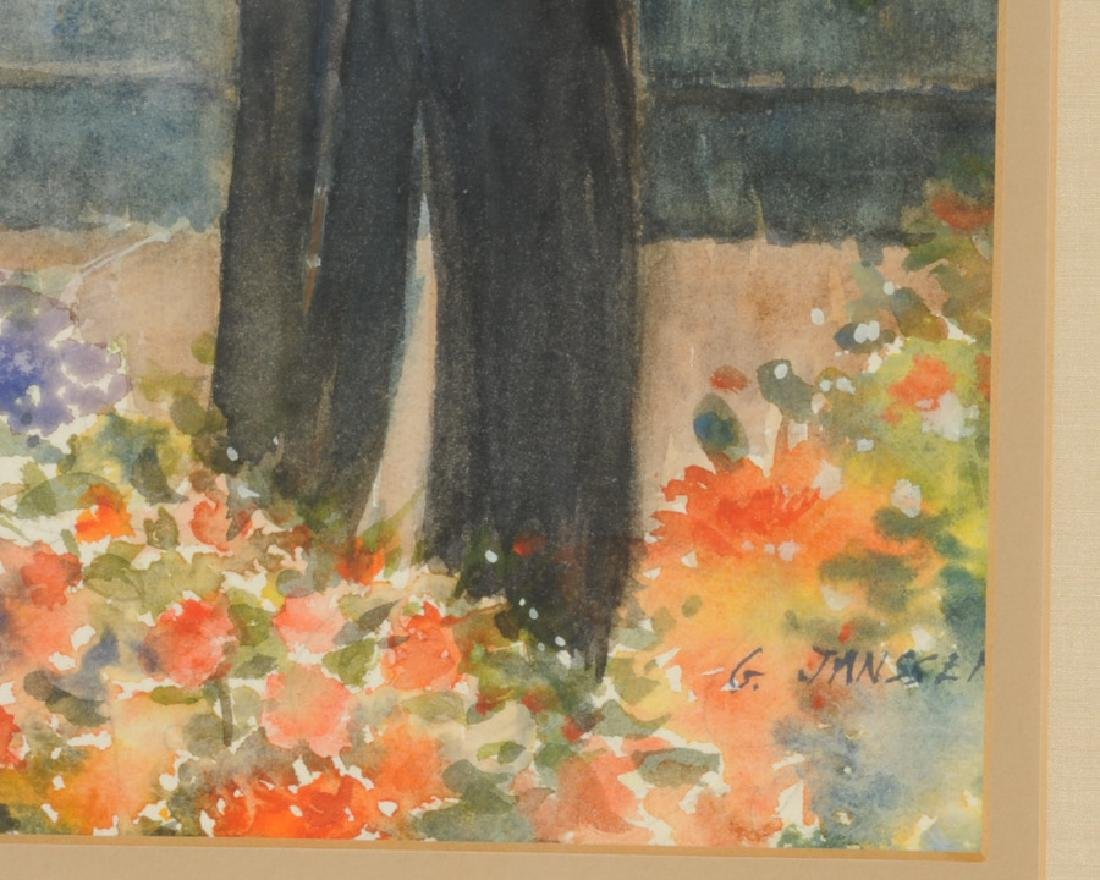 Watercolor of Gentleman in Garden by G. Jannsen - 2