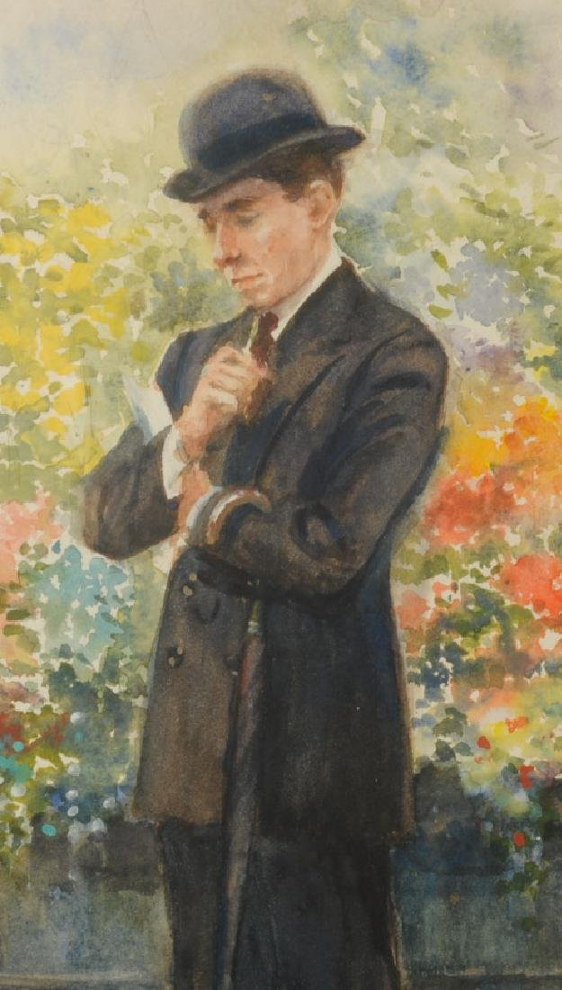 Watercolor of Gentleman in Garden by G. Jannsen - 3