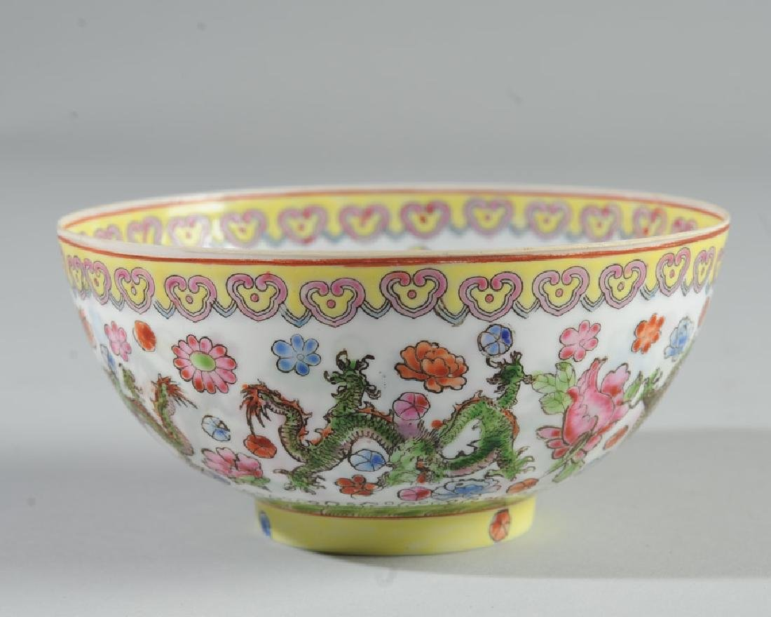 Chinese Eggshell Porcelain Dragon Bowl - 4