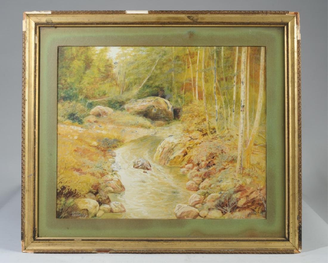 Signed 1904 Watercolor Louis R. Dederick
