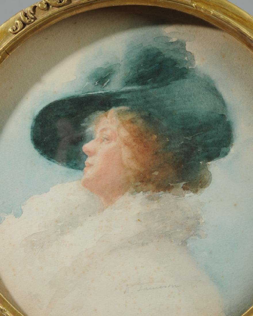 19th C. Watercolor Portrait of a Lady, R. Jameson - 2