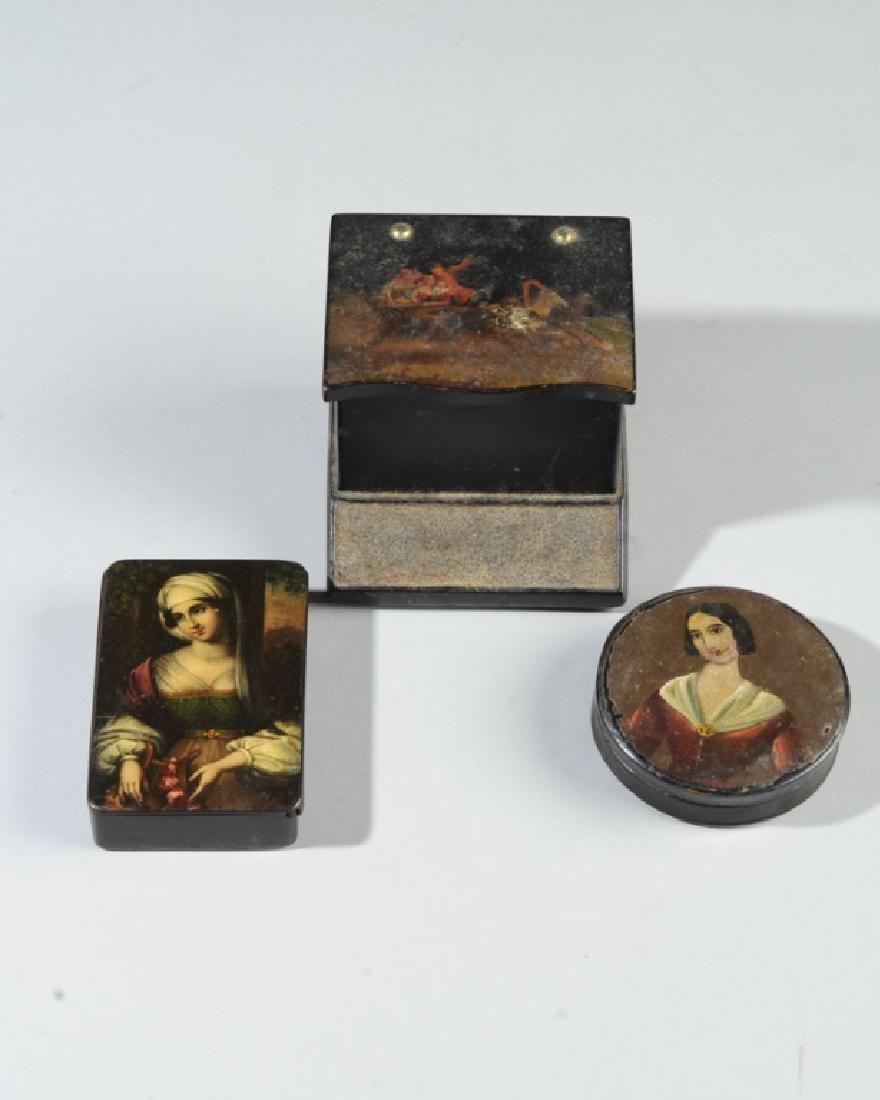 Russian Match Holder & Two Snuff Boxes