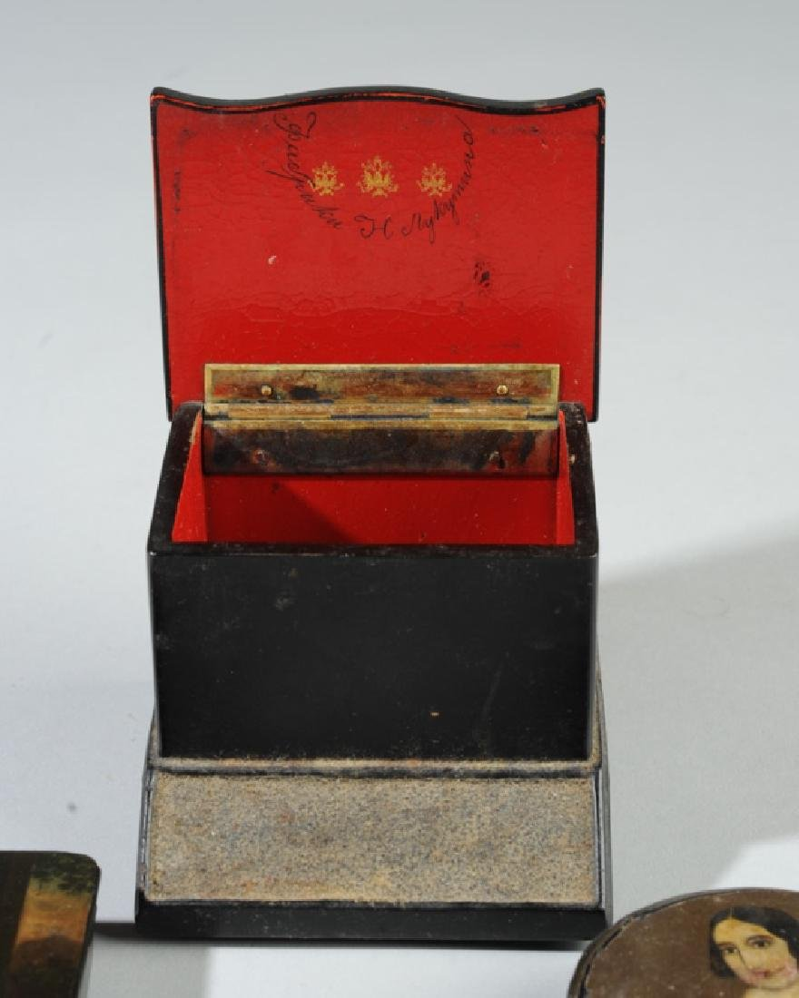 Russian Match Holder & Two Snuff Boxes - 6