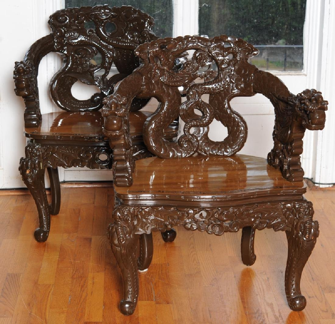 Pair 20th C. Chinese or Japanese Dragon Chairs