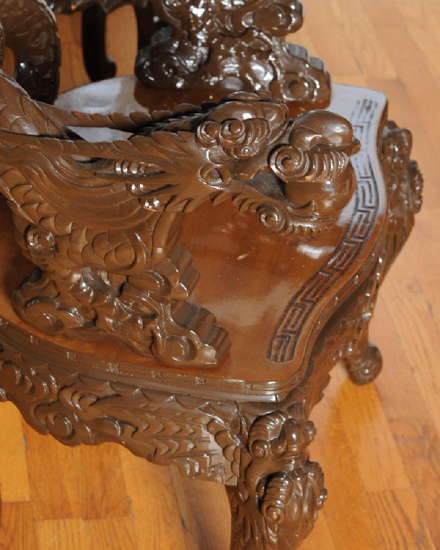 Pair 20th C. Chinese or Japanese Dragon Chairs - 3