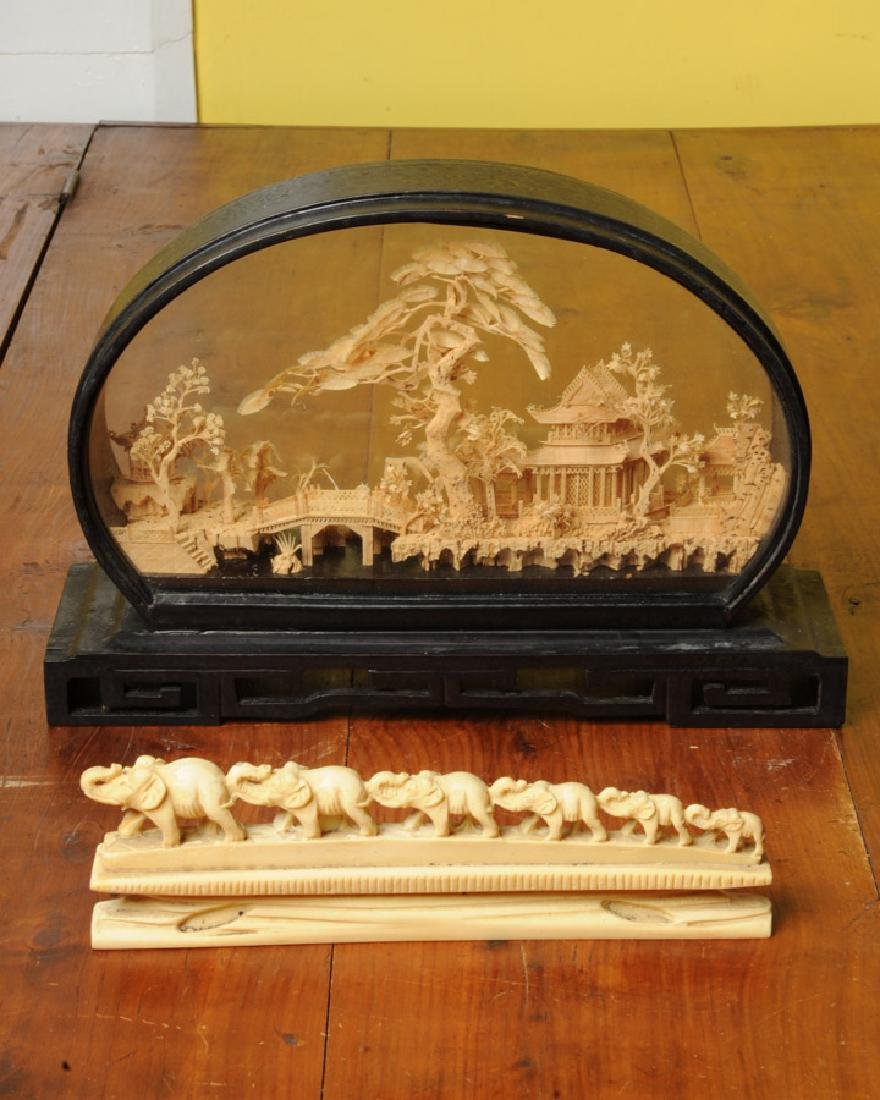 Chinese Carved Cork Scene, more