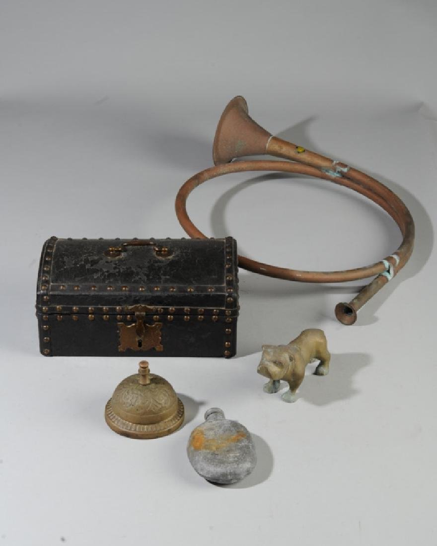 Mixed Lot: Antique Pewter Flask, Leather Box +